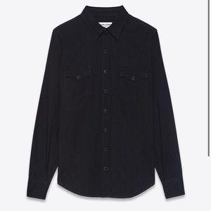 YSL western shirt in black rinse denim.